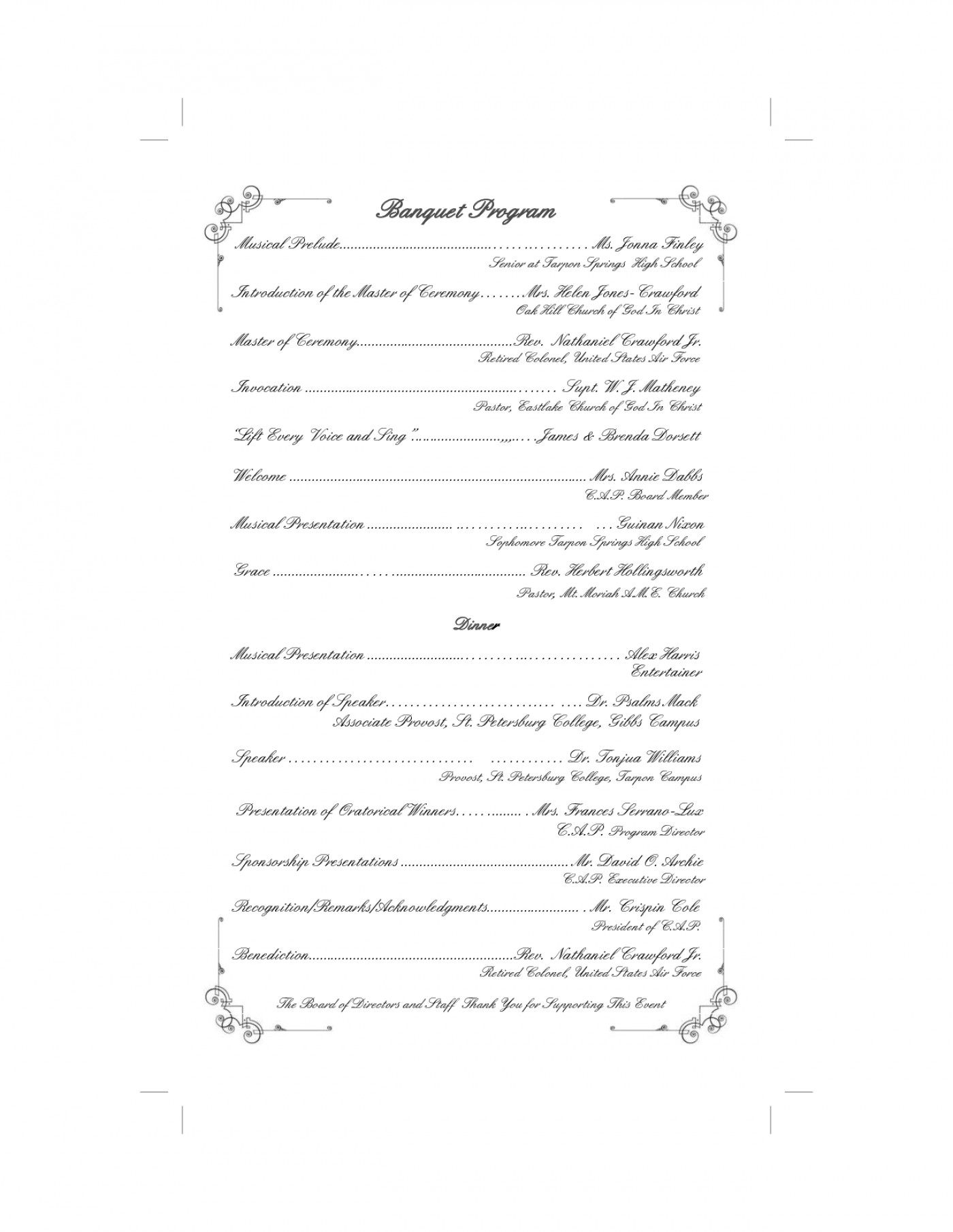 Church Banquet Program Template