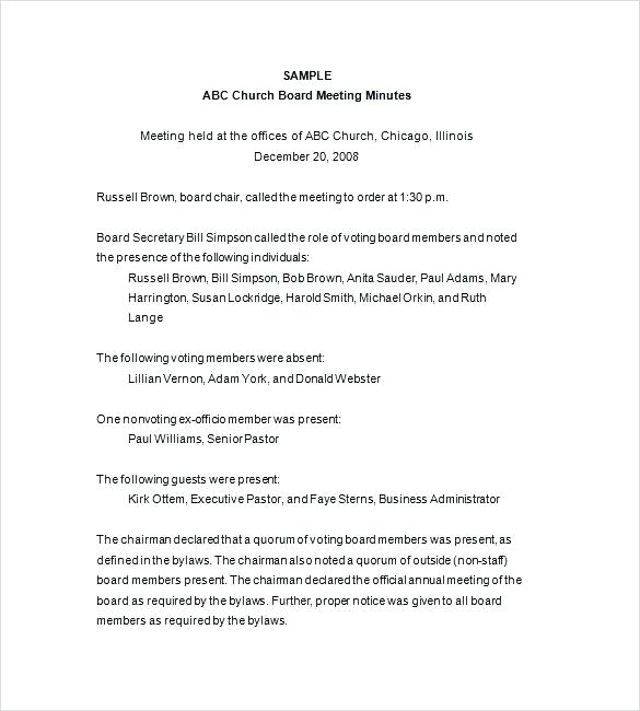 Church Board Meeting Minutes Template