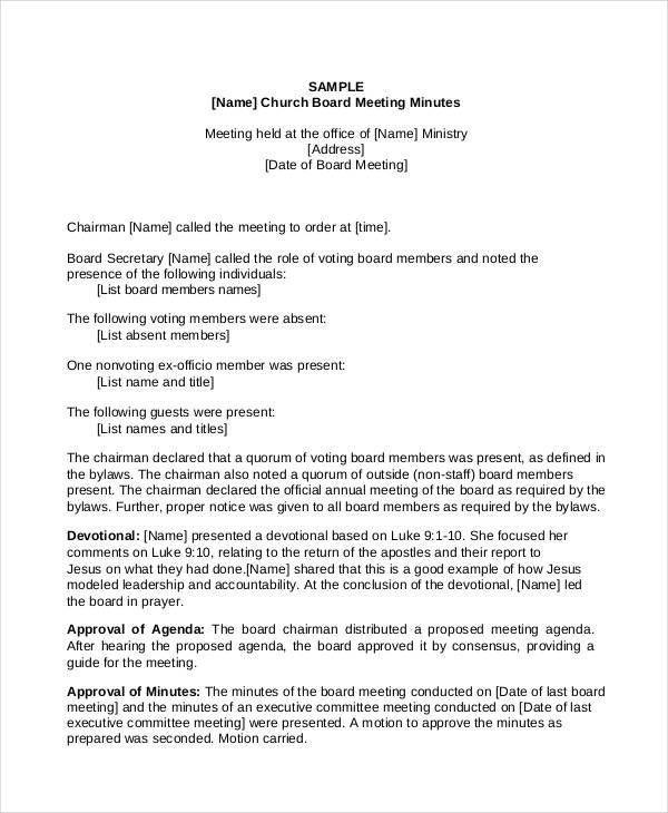 Church Meeting Minutes Template