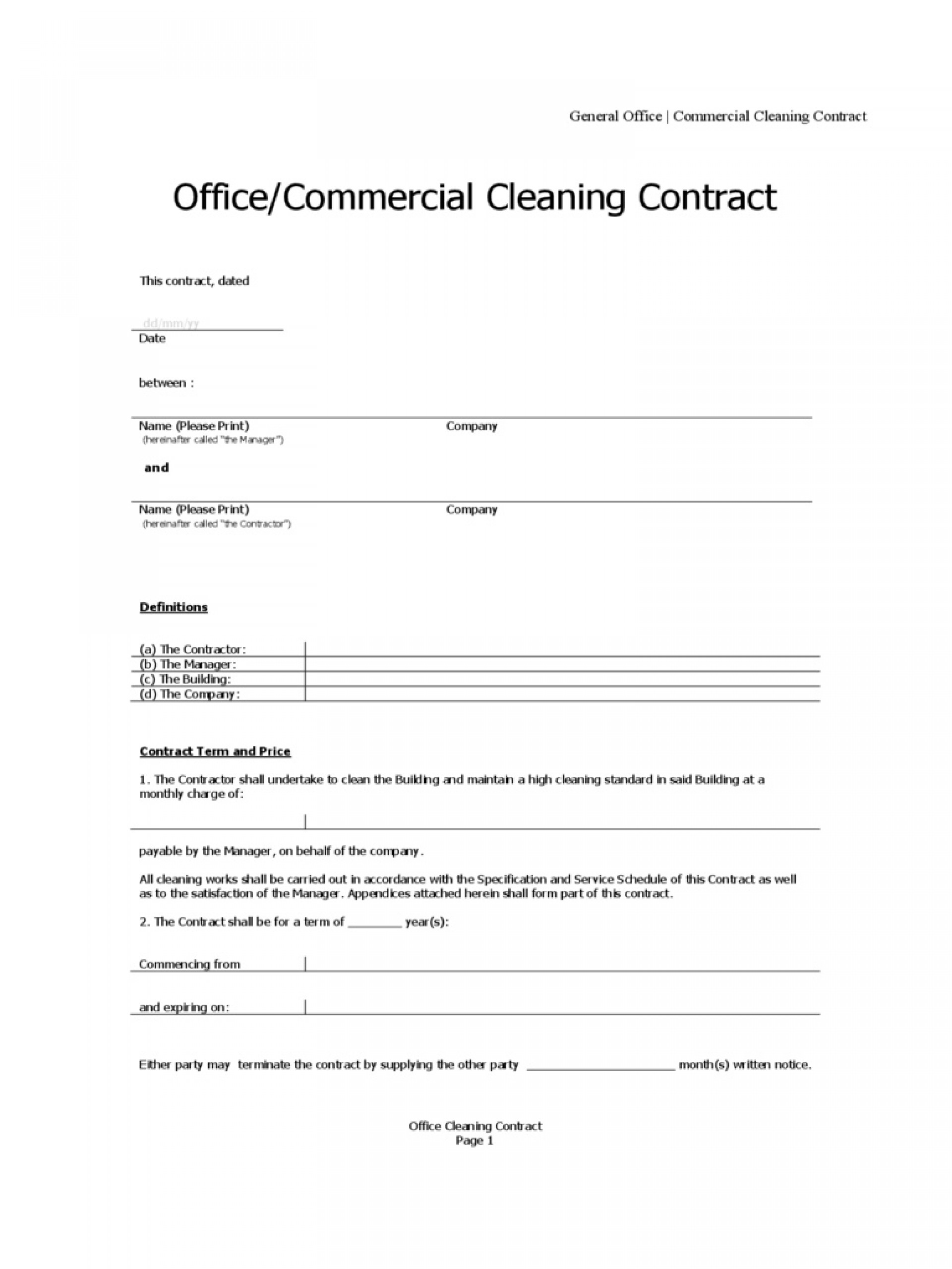 Cleaning Service Agreement Template Word