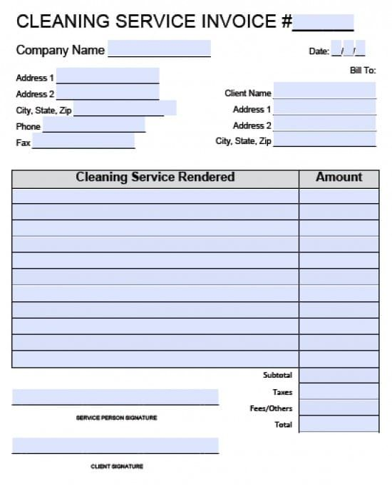 Cleaning Service Invoice Template Excel