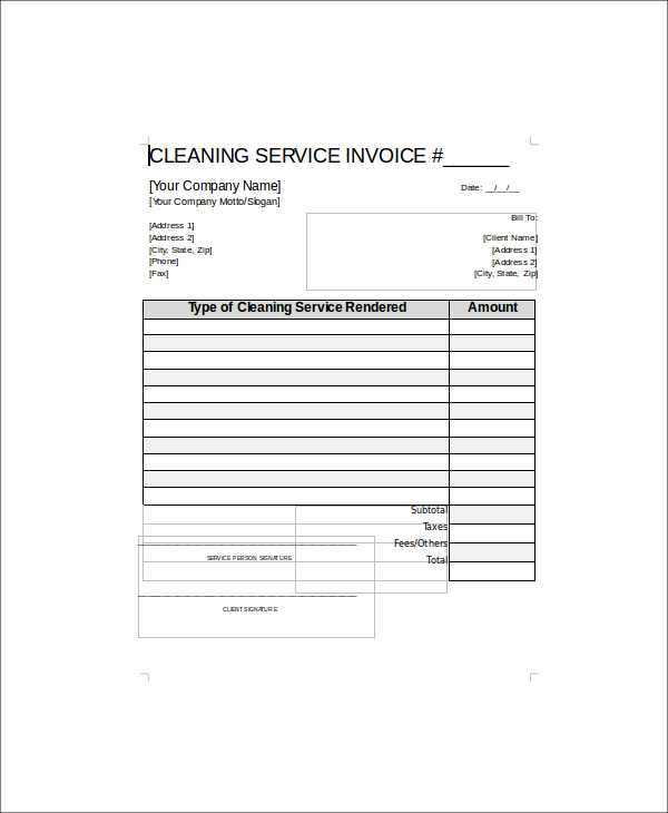 Cleaning Service Receipt Template