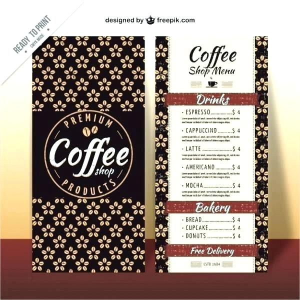 Coffee Shop Menu Template Word Free