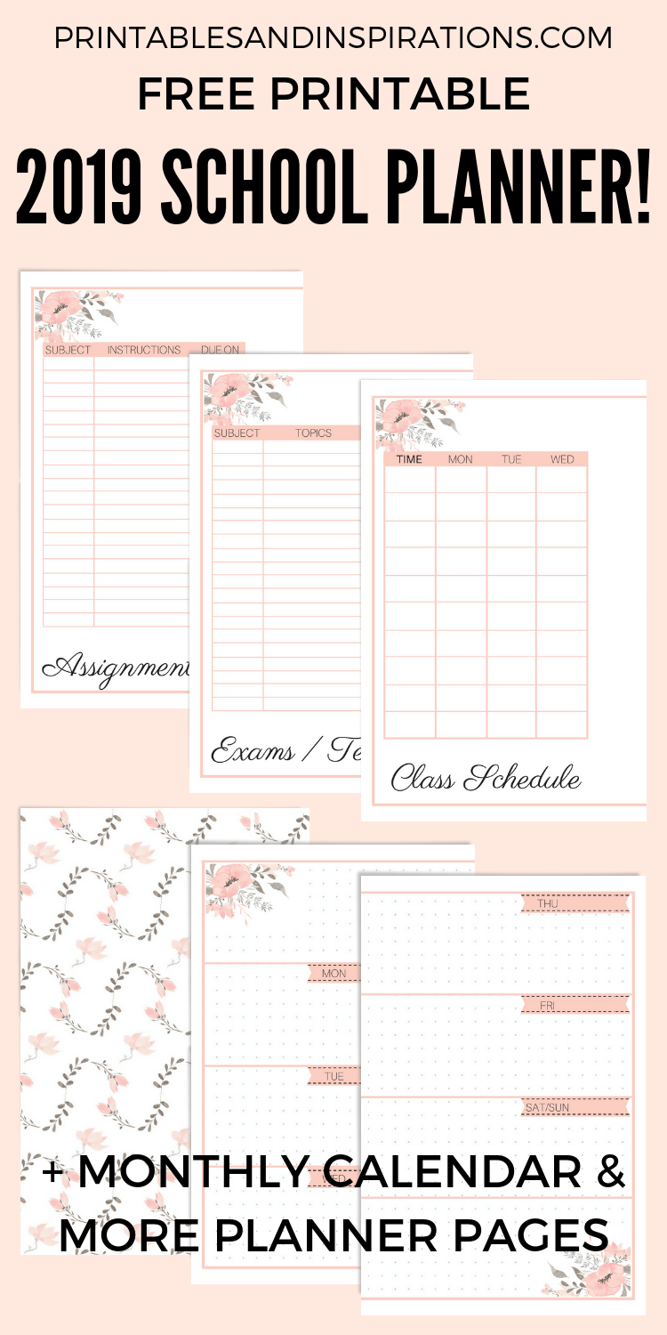 College Student Planner Template Free Printable
