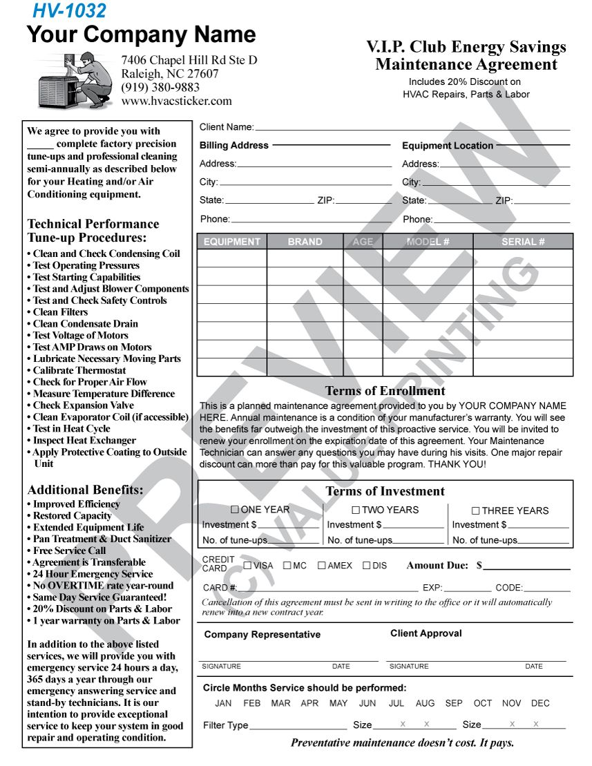 Commercial Hvac Maintenance Contract Template