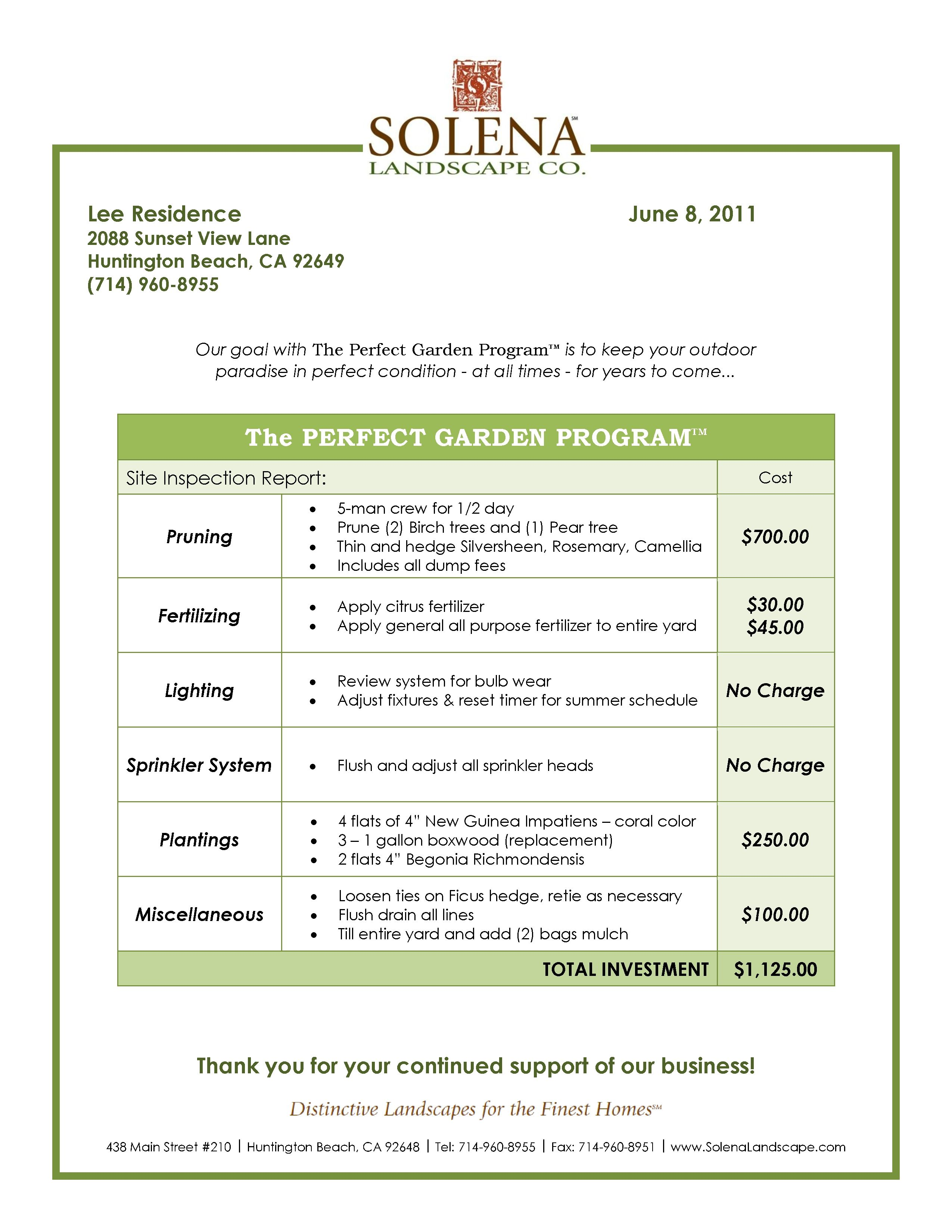 Commercial Lawn Care Bid Template