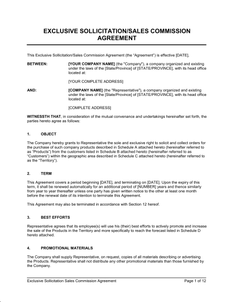 Commission Sales Agreement Template
