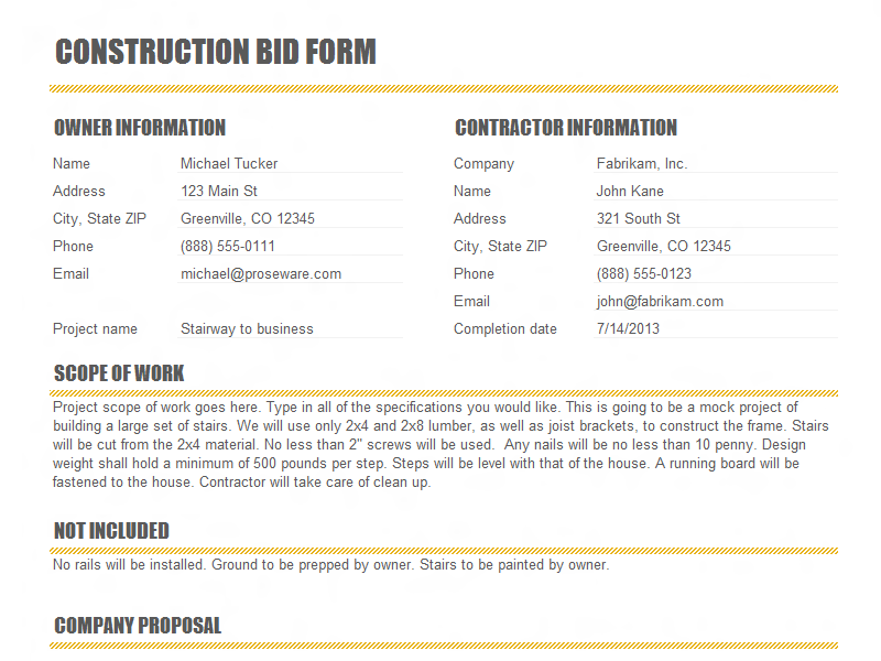 Construction Bid Form Template