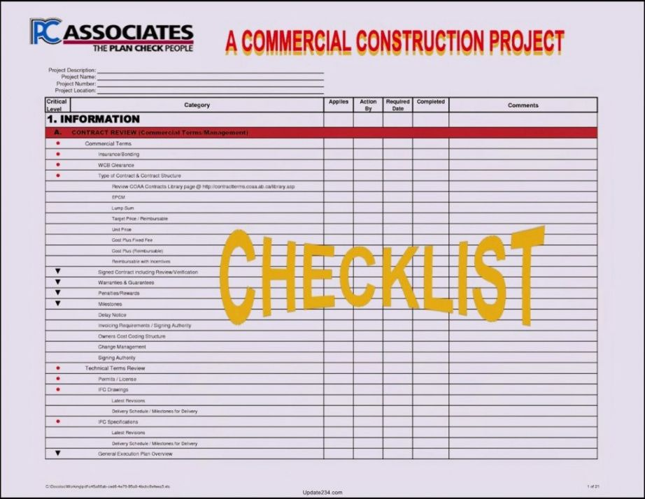 Construction Project Manager Checklist Template