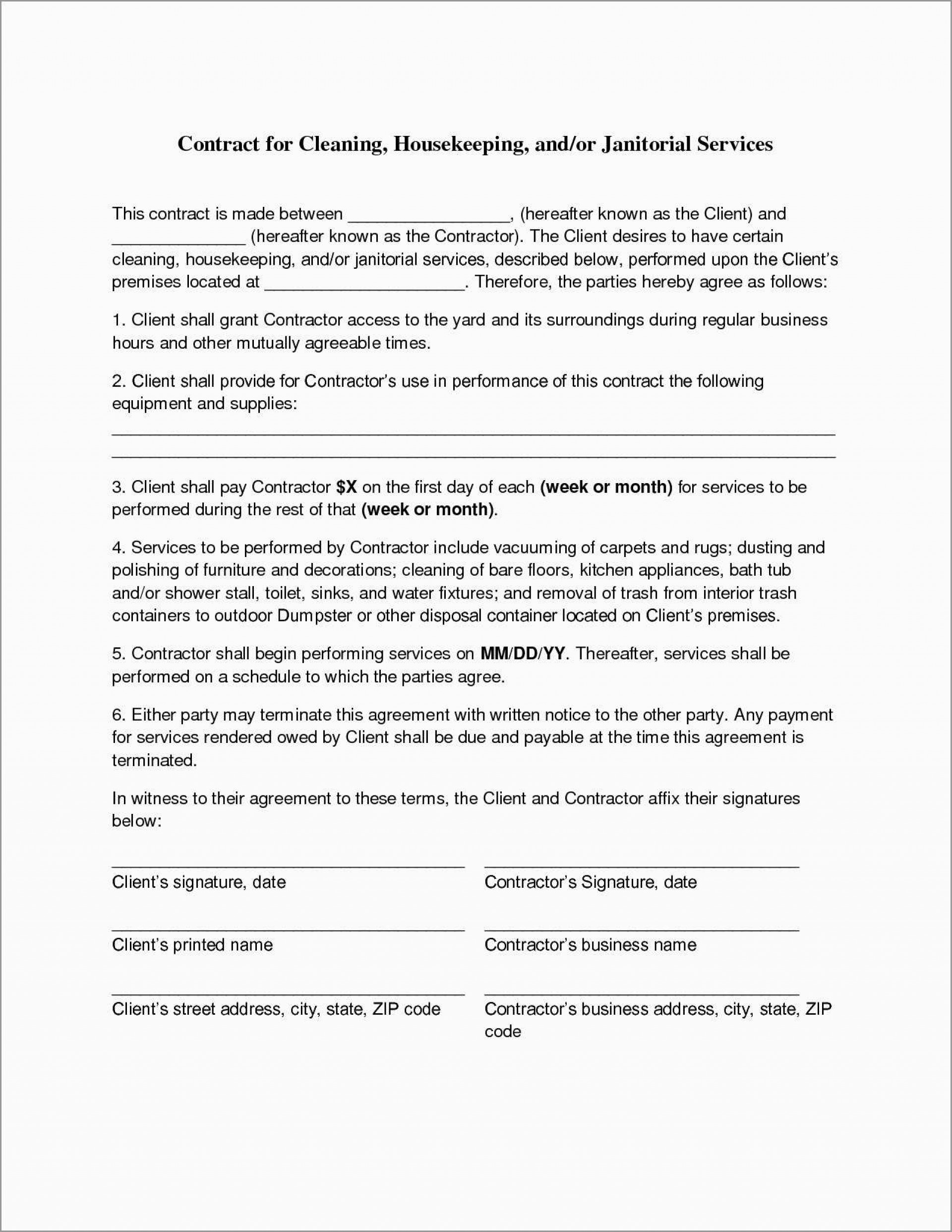 Contract For Services Rendered Template