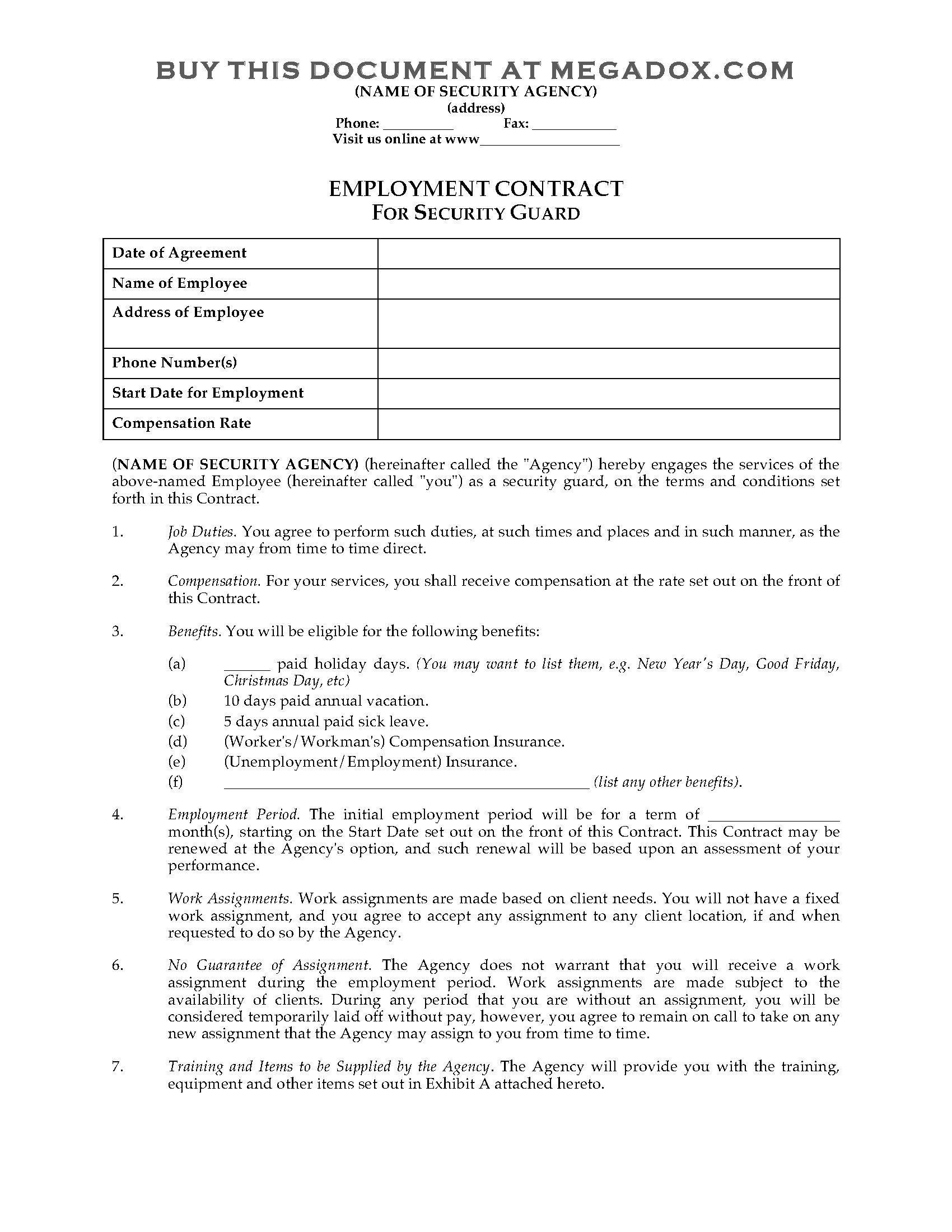 Contract Template For Security Guard Services