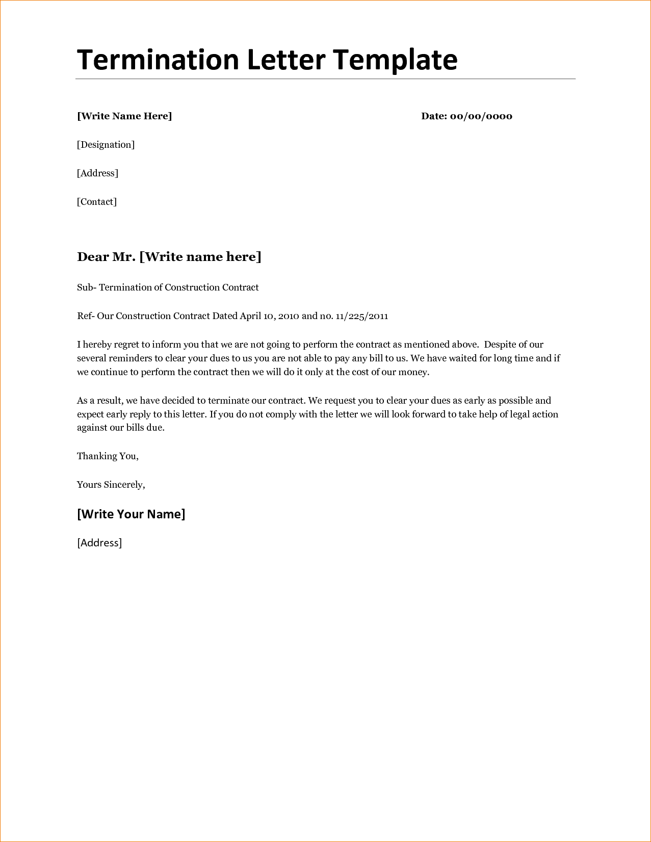 Contract Termination Agreement Template