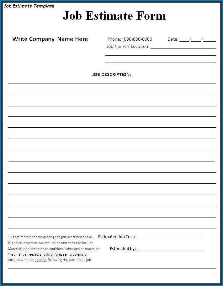Contractor Bid Sheet Template Free