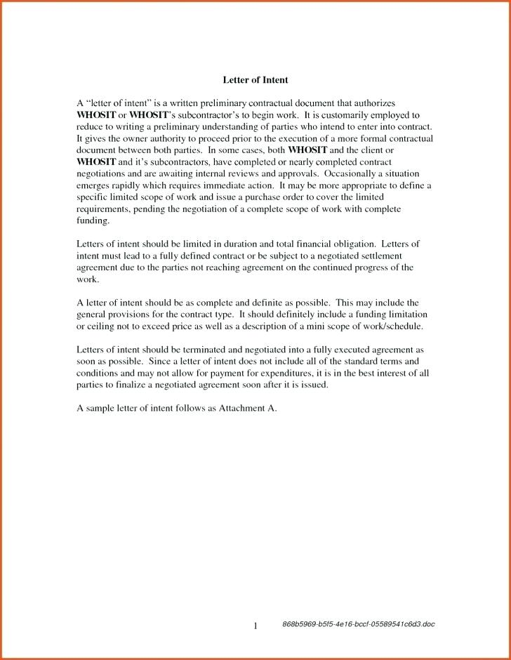 Contractor General Contractor Letter Of Intent Template