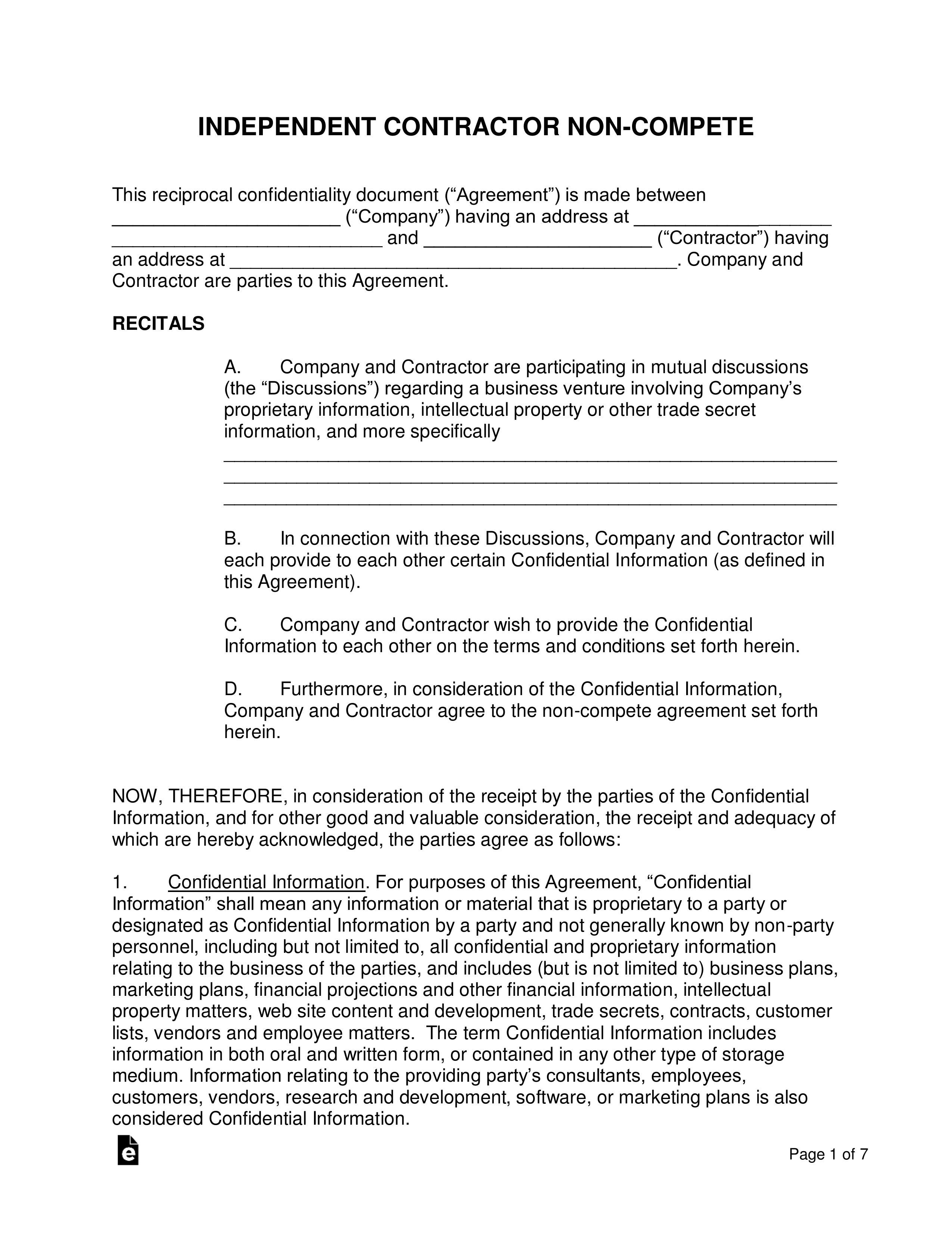 Contractor Non Compete Agreement Template