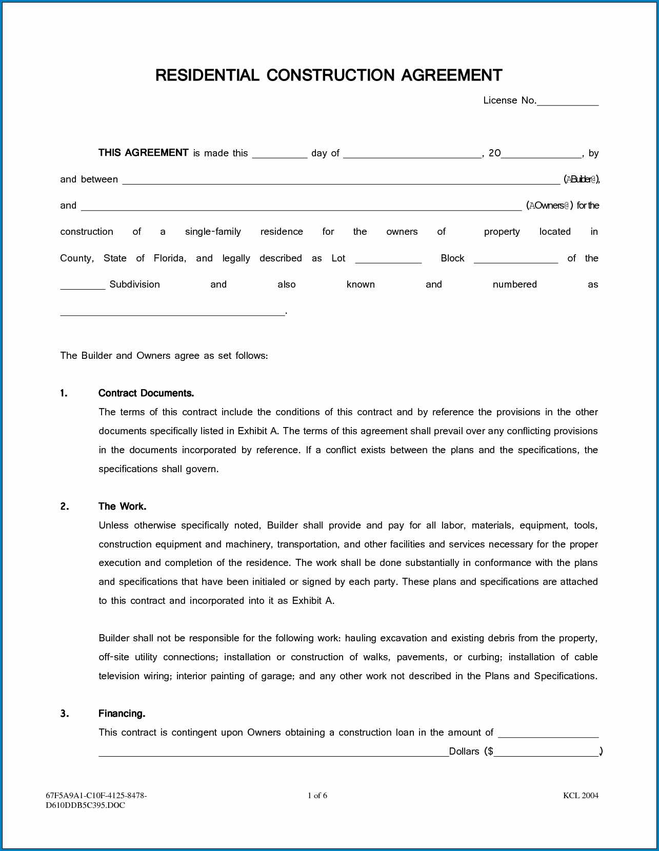 Contractor Printable Construction Contract Template