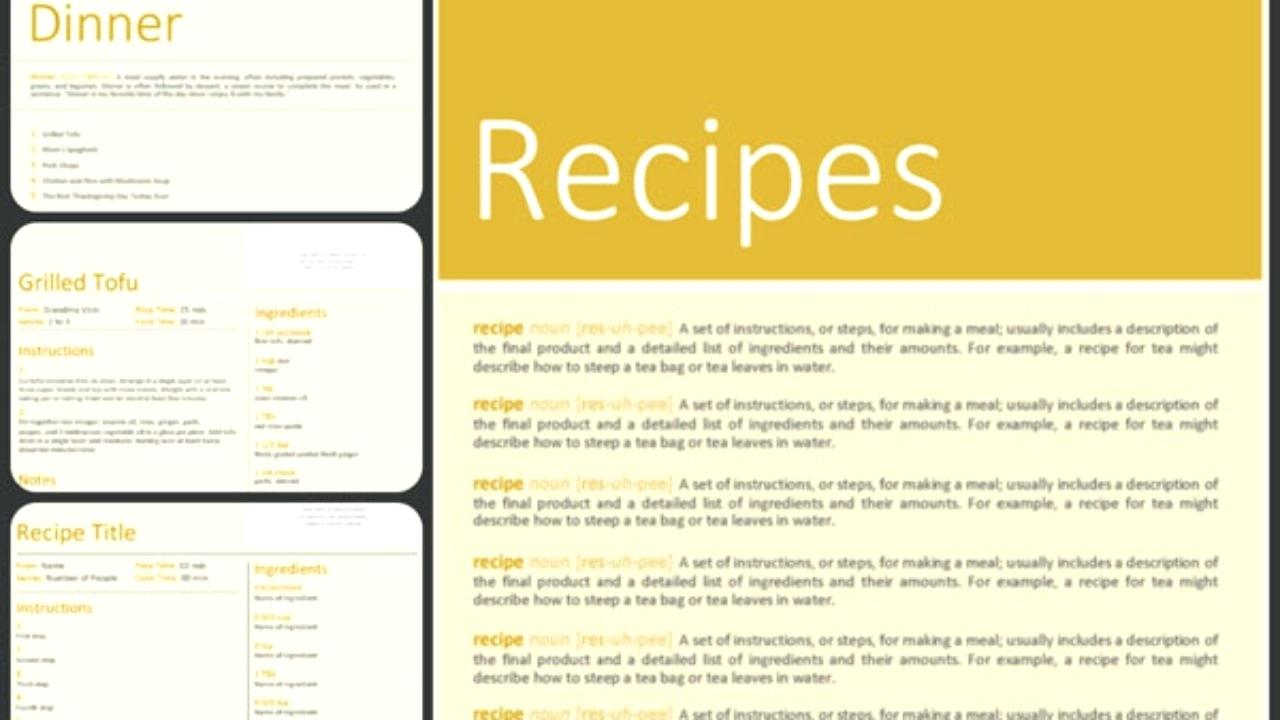 Cookbook Word Template Free
