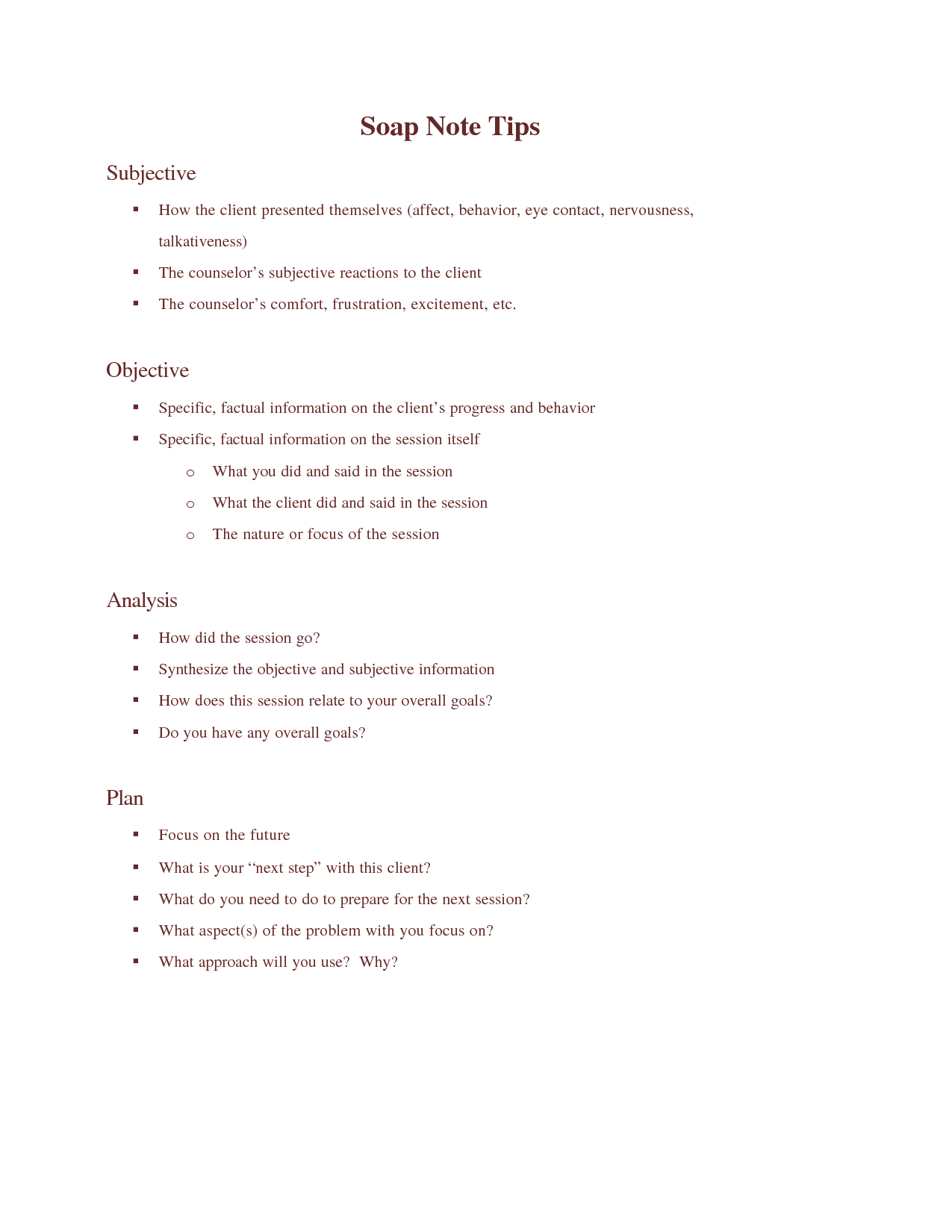 Counseling Template Soap Note Sample
