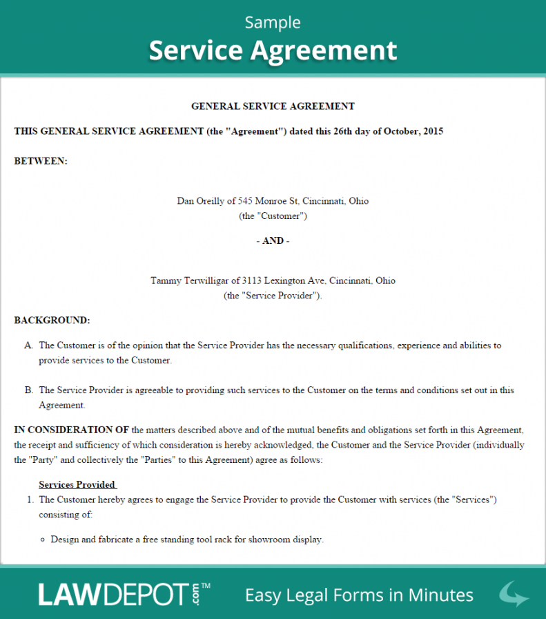 Free Service Agreement Form Free Service Contract Template (us) Lawdepot Courier Service Contract Agreement