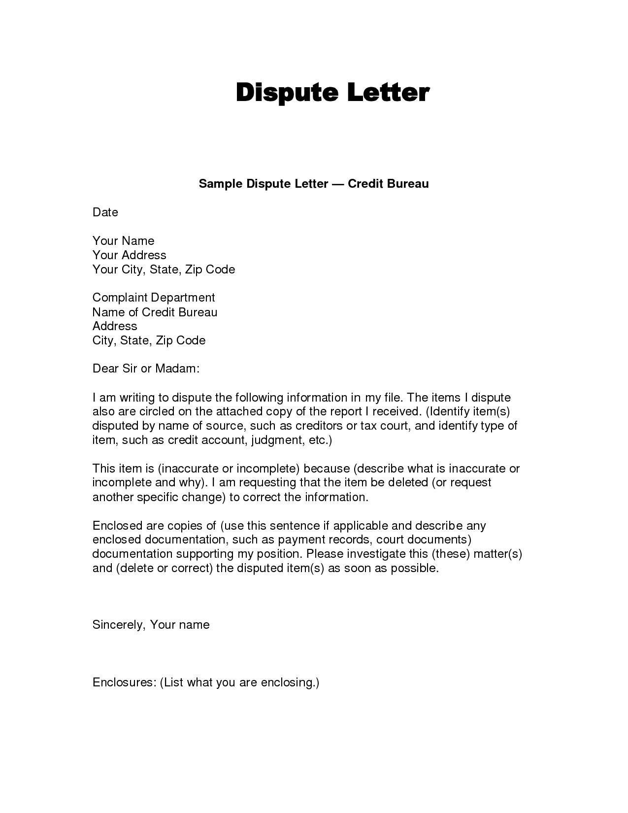 Credit Bureau Dispute Letter Template