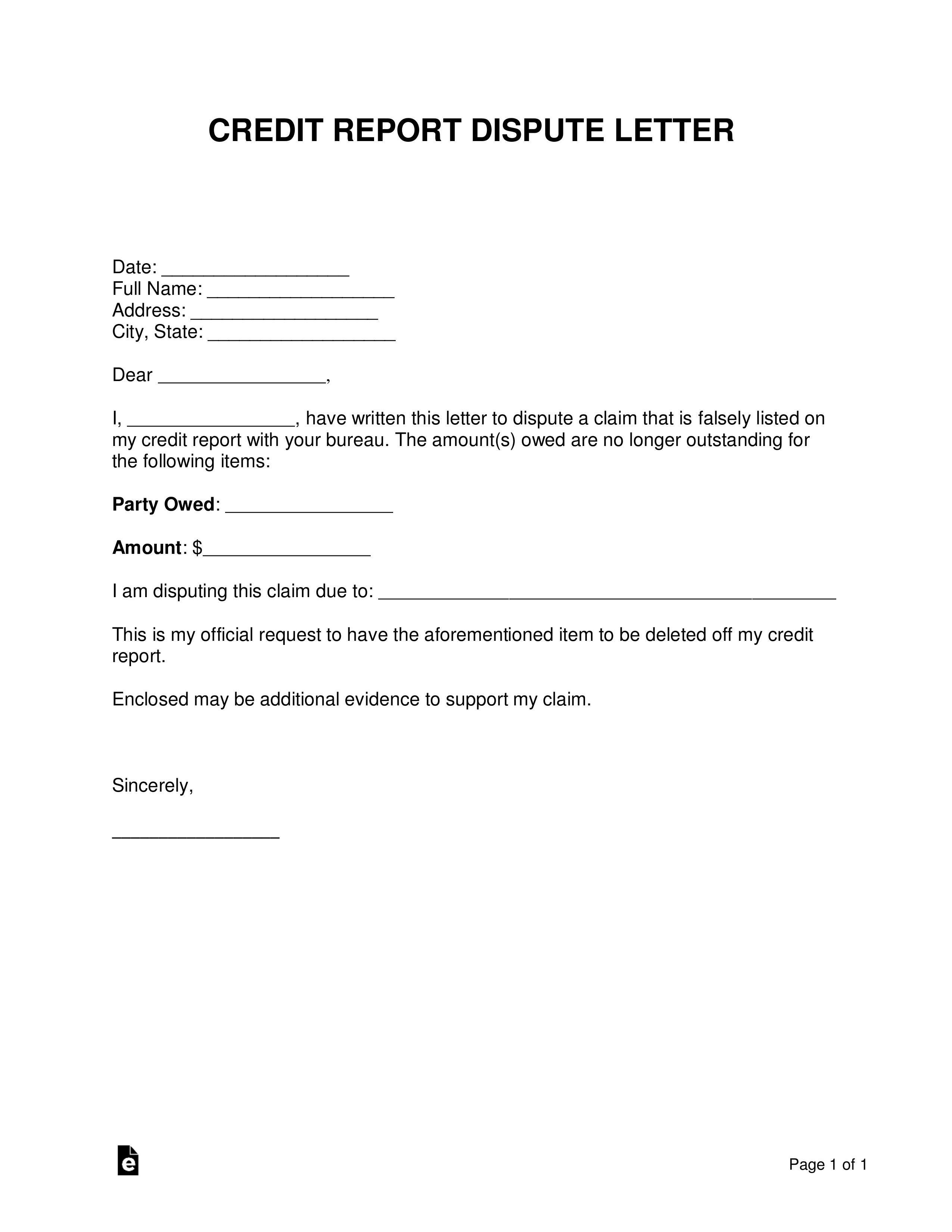Credit Dispute Template Letter