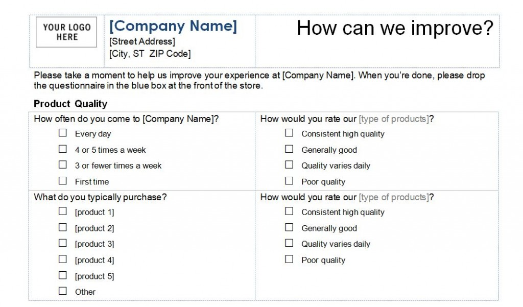 Customer Service Survey Template Word