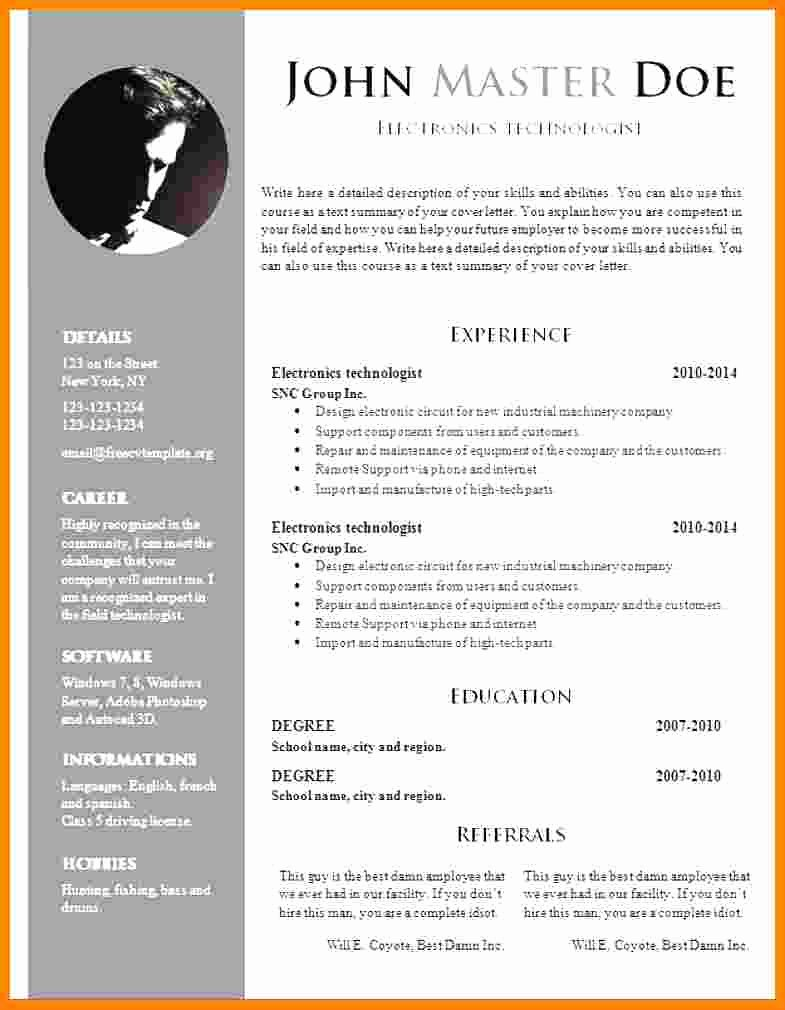 Cv Template Doc Download Free