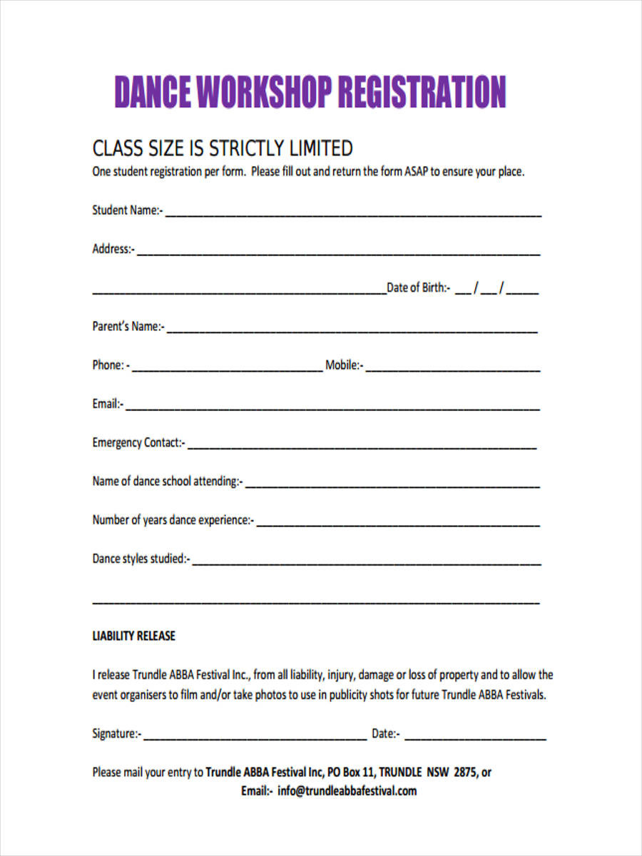 Dance Registration Form Template New 10 Workshop Registration Forms Free Sample Example