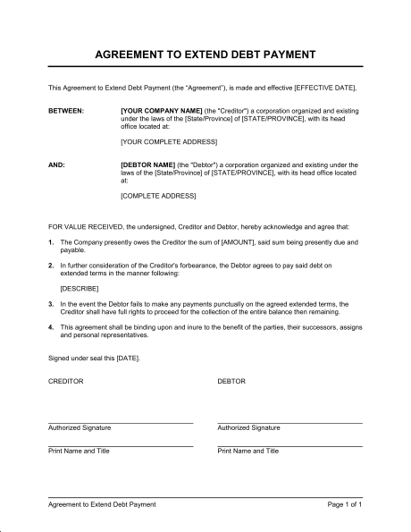 Debt Payment Agreement Template