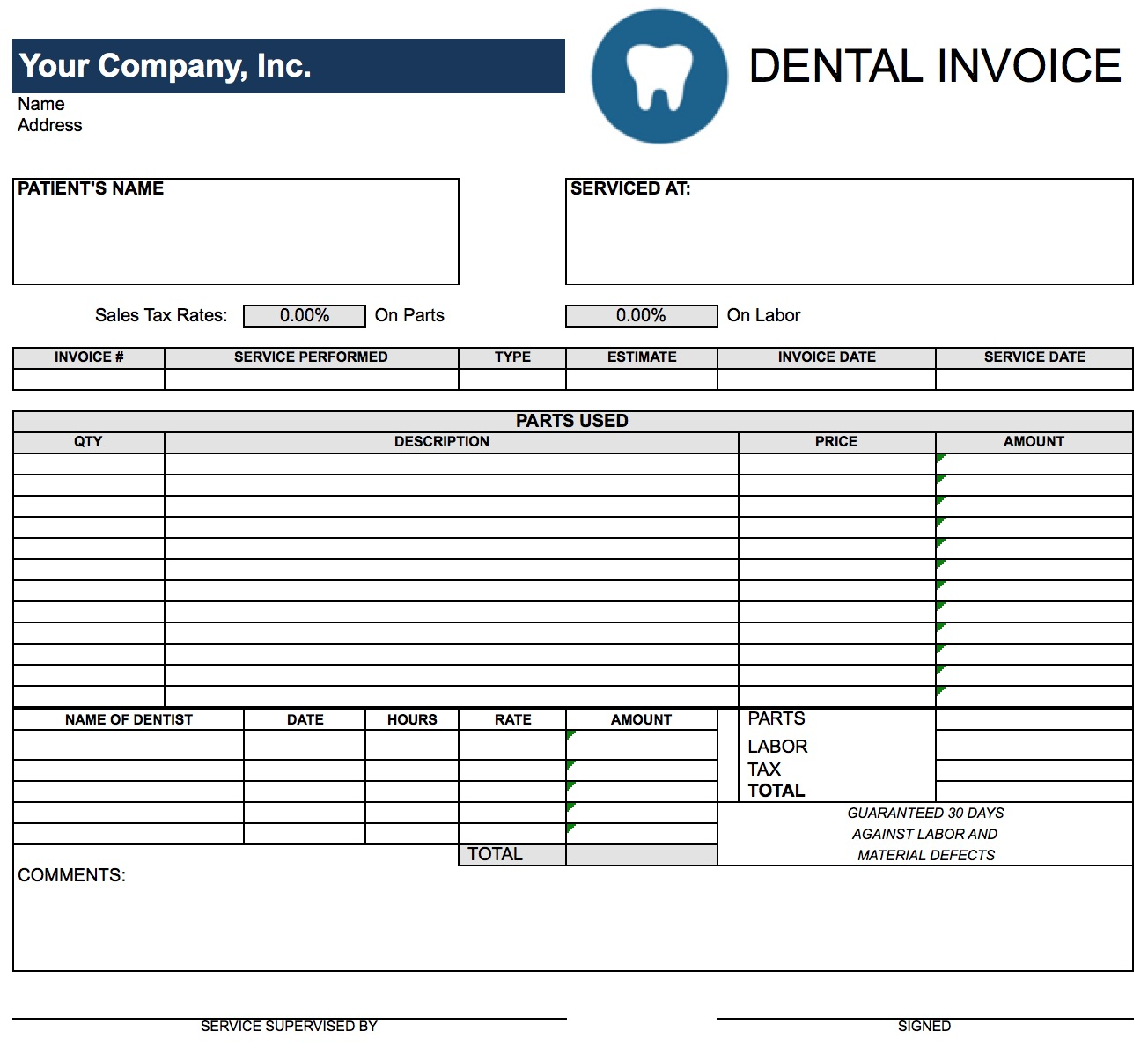 Dental Invoice Template Excel Free