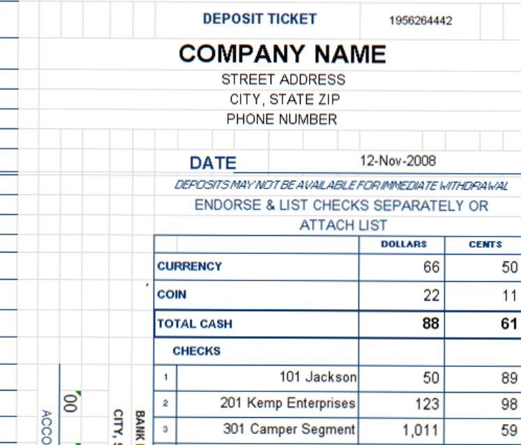 Deposit Ticket Template Excel