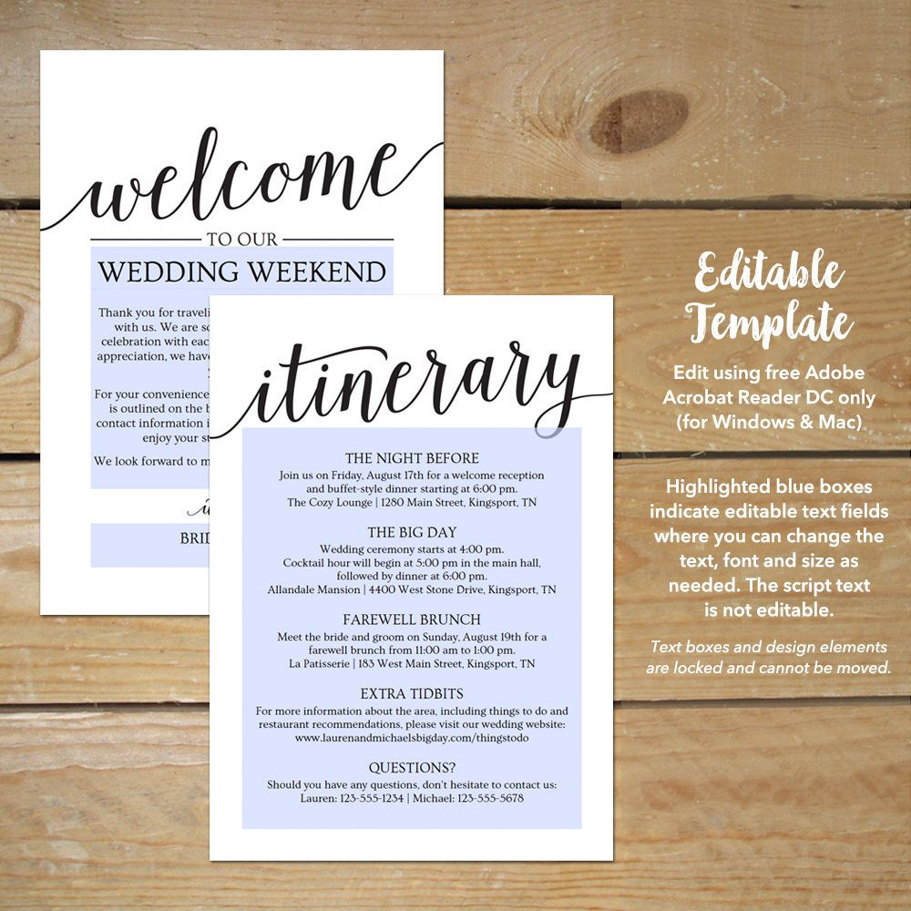 Destination Wedding Welcome Letter Template
