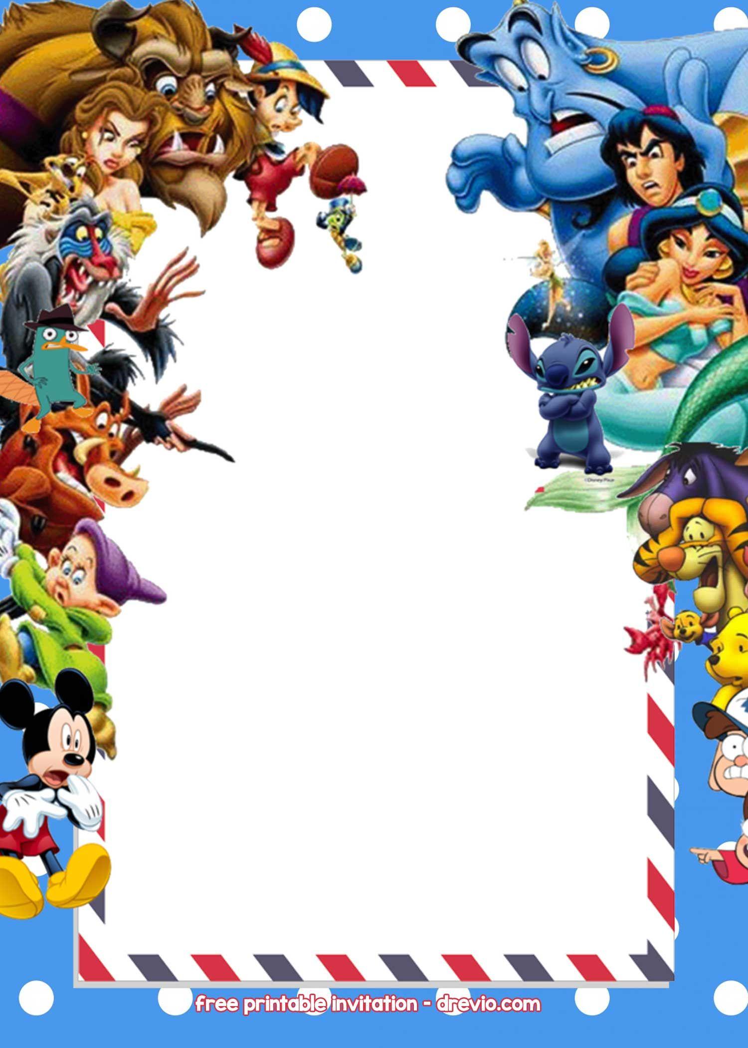 Disney Birthday Invitations Templates Free