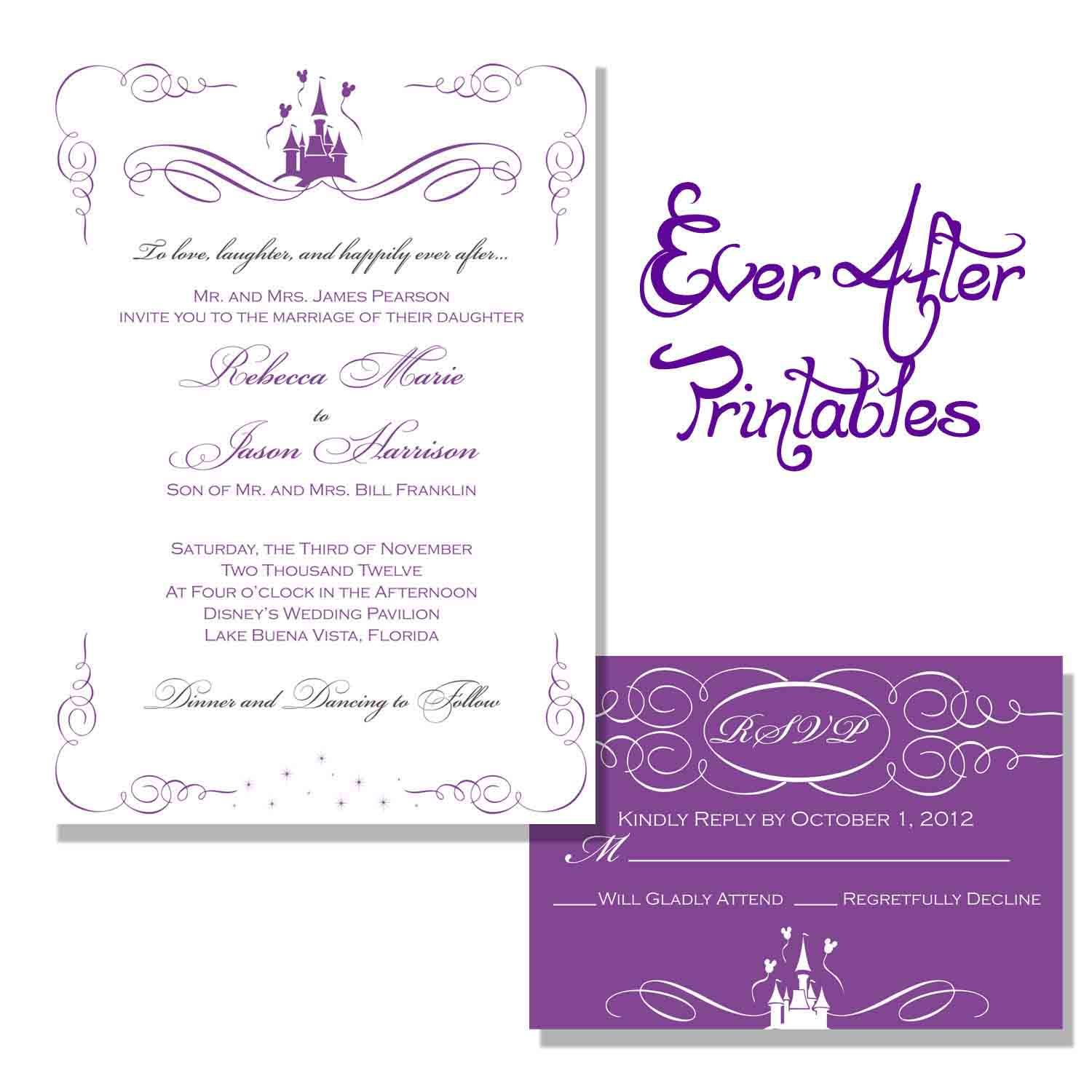 Disney Wedding Invitation Templates