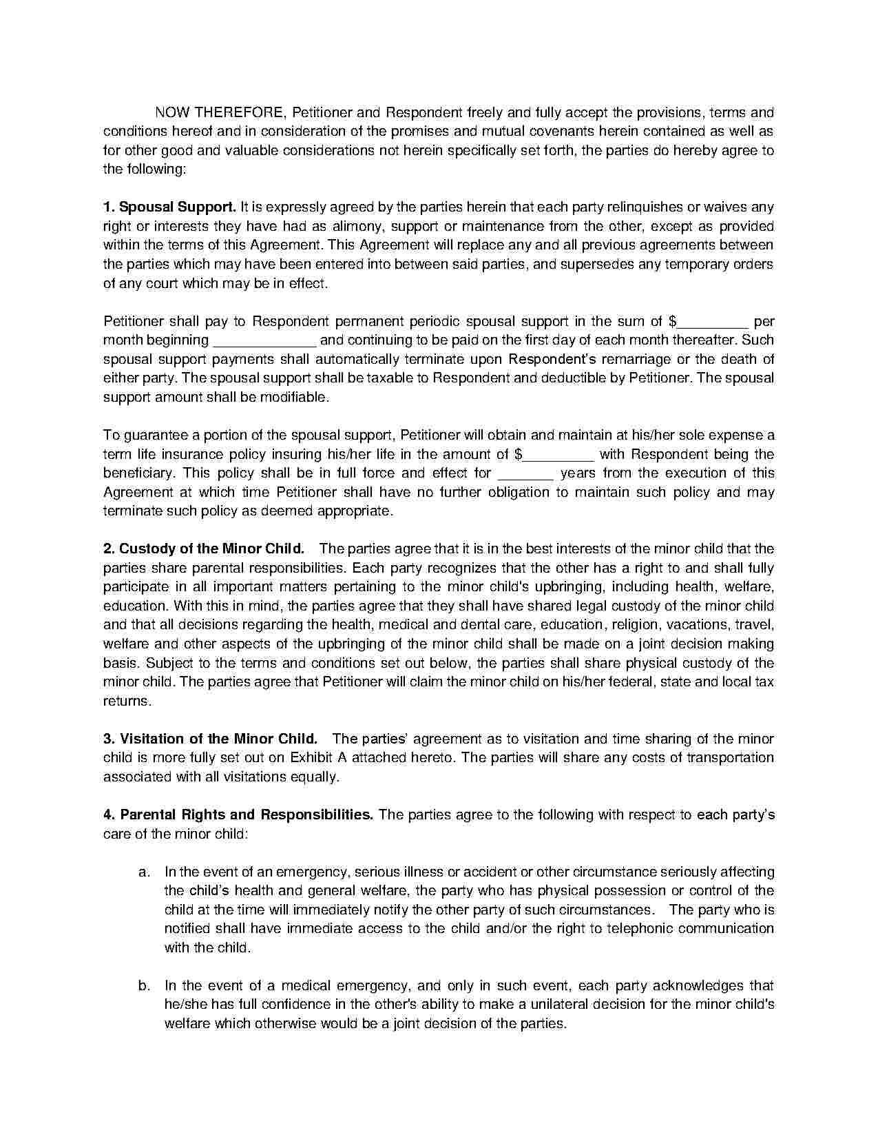 Divorce Mediation Agreement Template