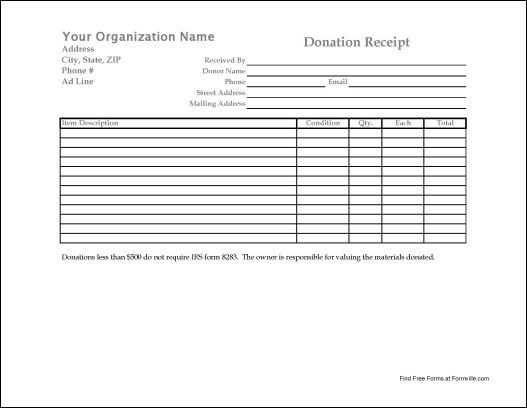 Donation Form Donation Invoice Template