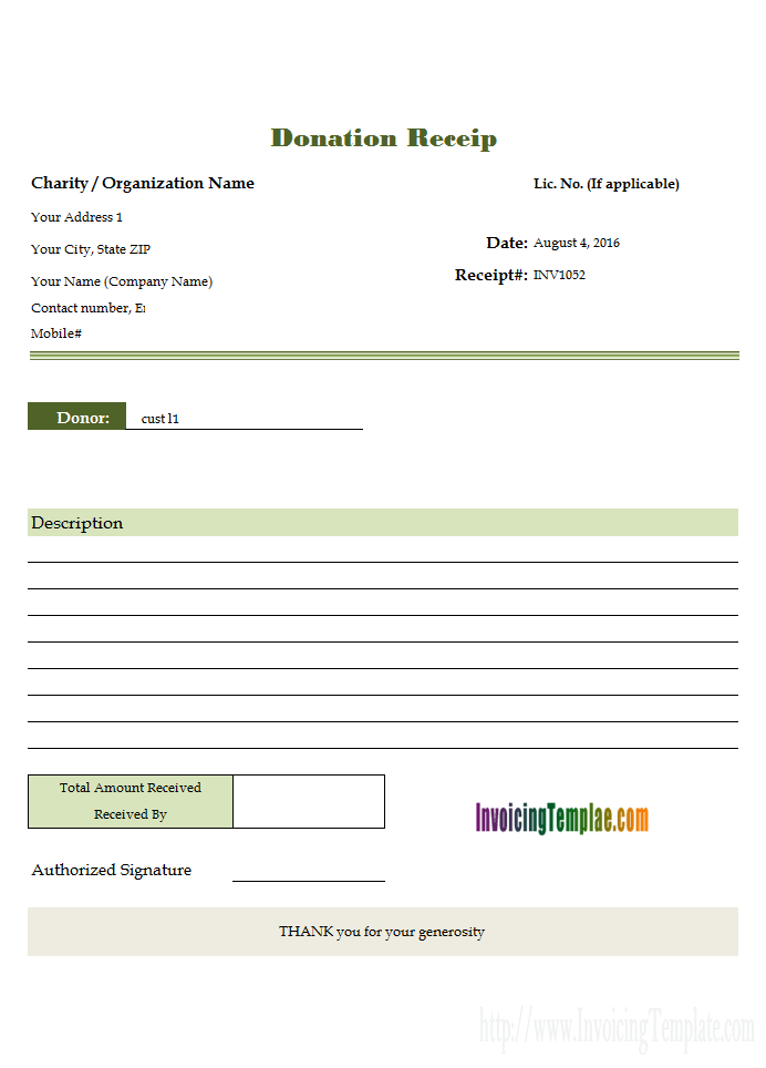 Donation Invoice Template Word