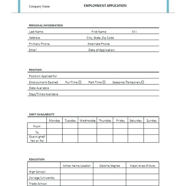 Downloadable Editable Job Application Template