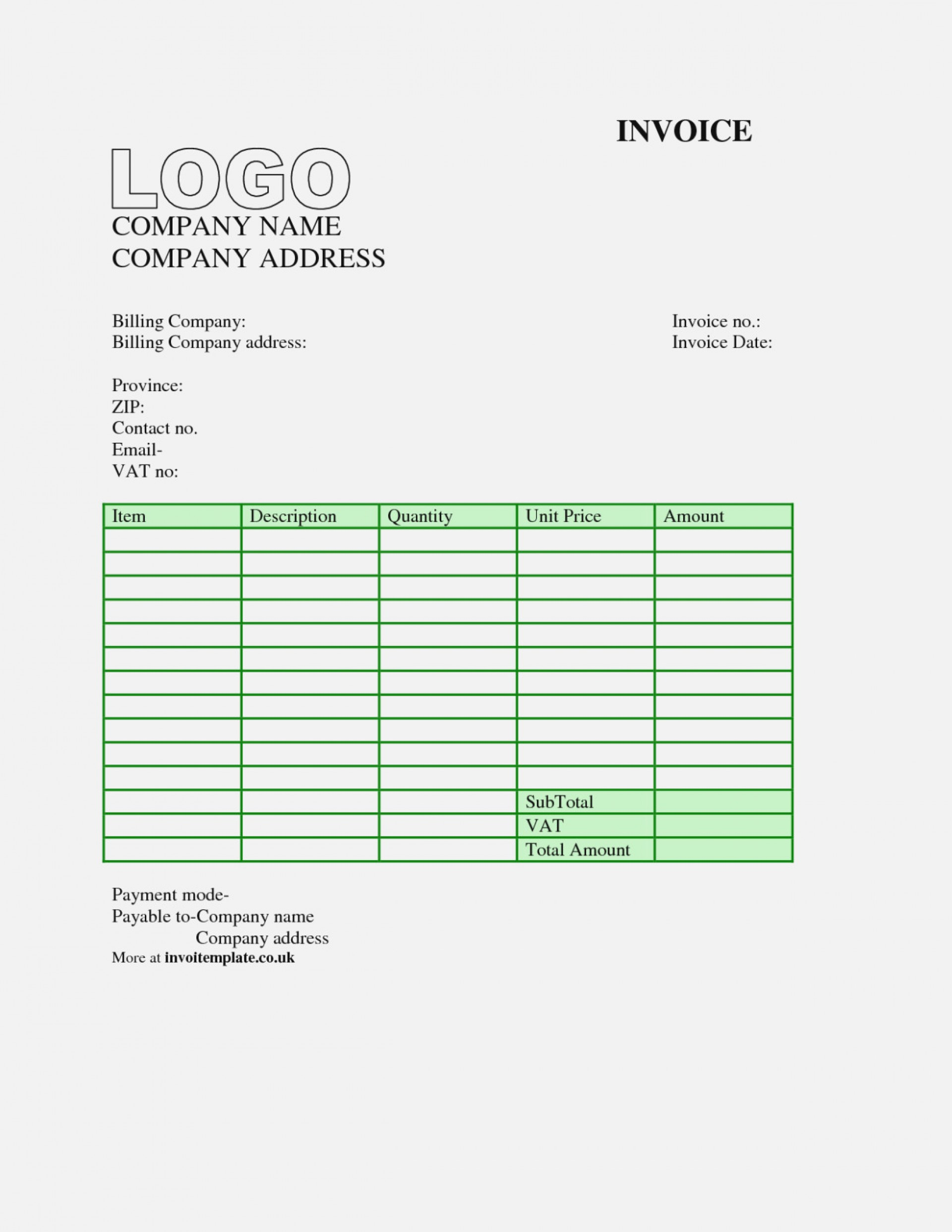 Downloadable Excel Format Invoice Template Excel