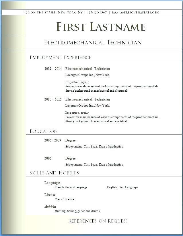Downloadable Free Resume Templates Doc