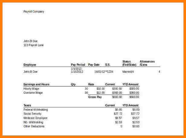 Downloadable Quickbooks Pay Stub Template