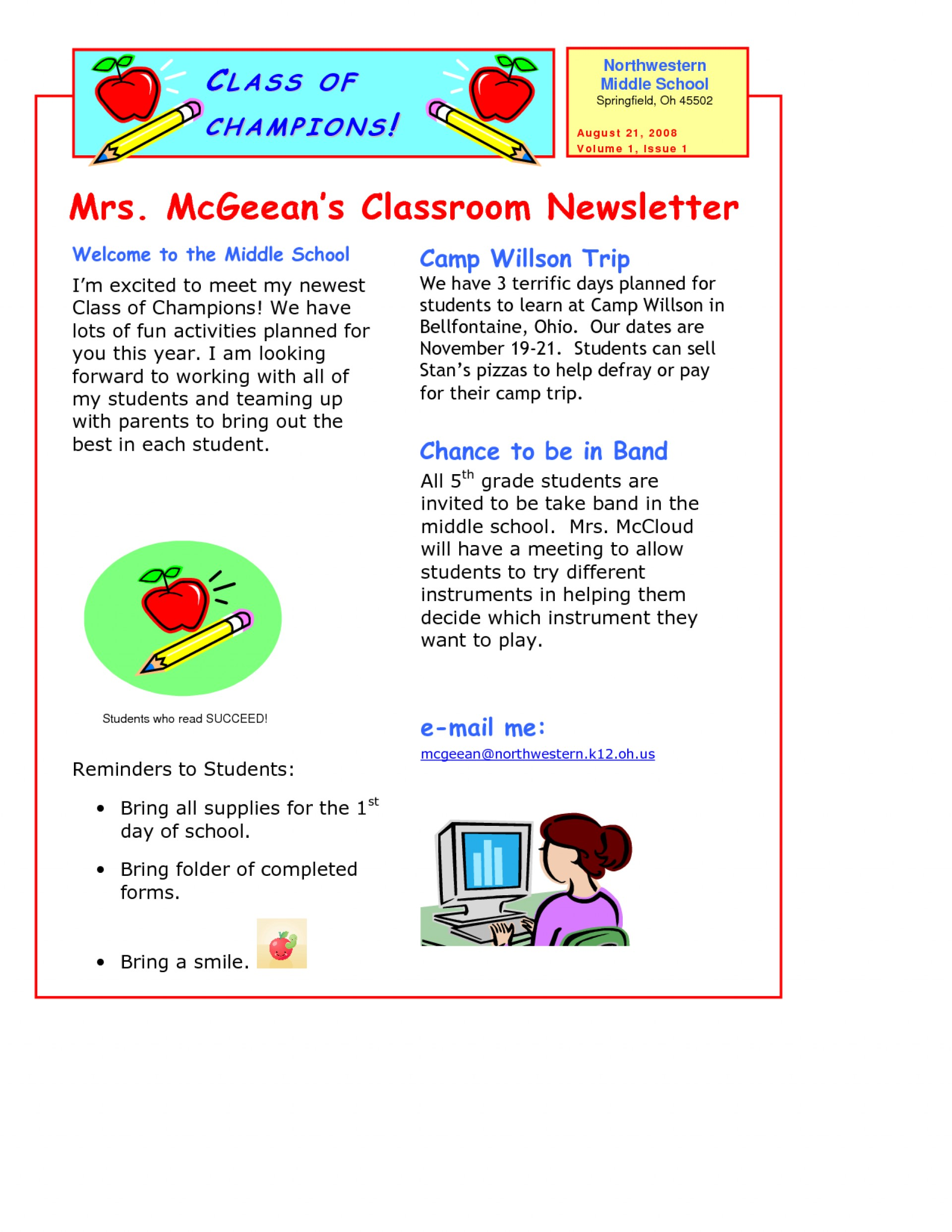 Downloadable School Newsletter Templates Free