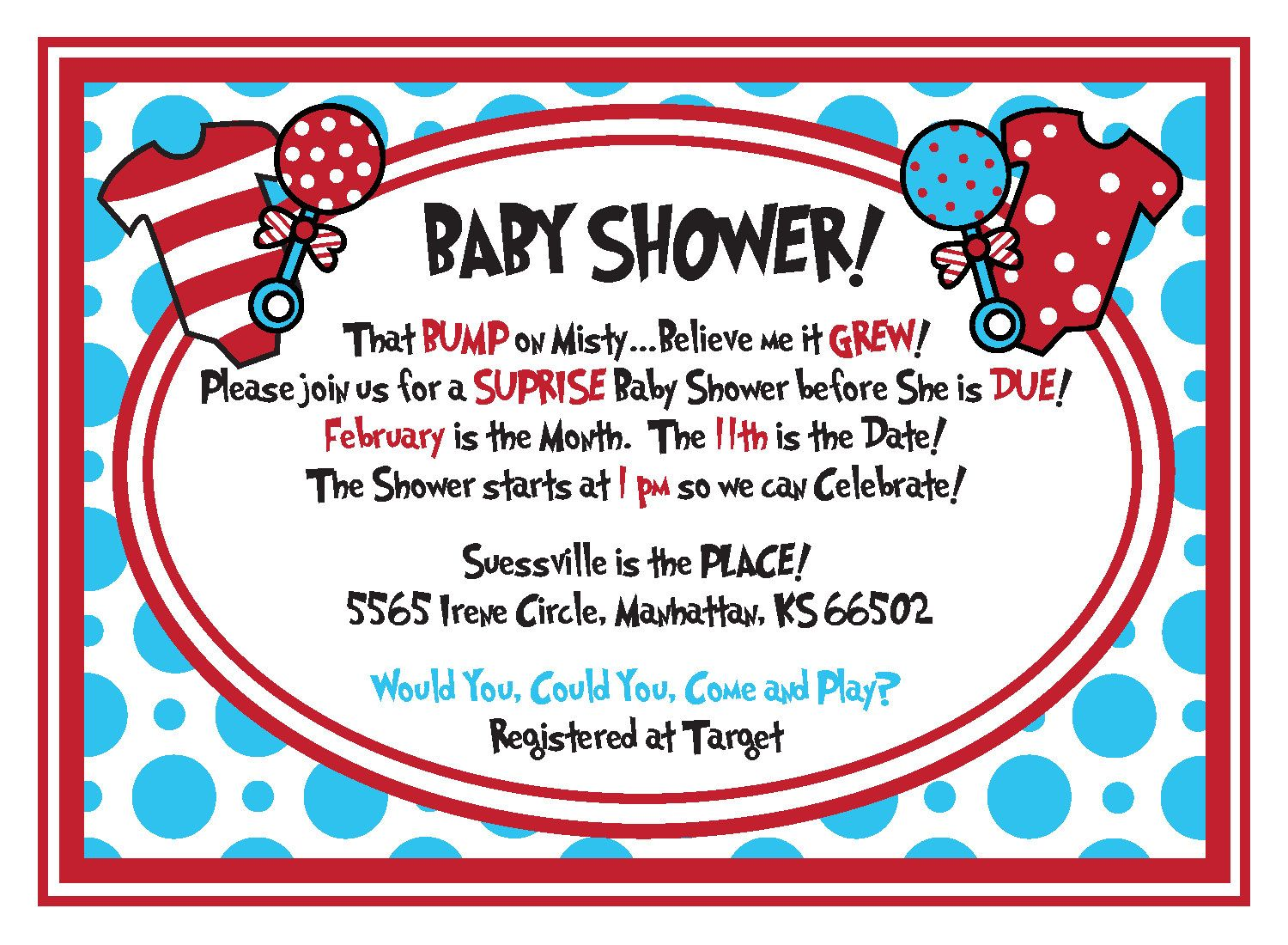 Dr Seuss Baby Shower Invitation Template