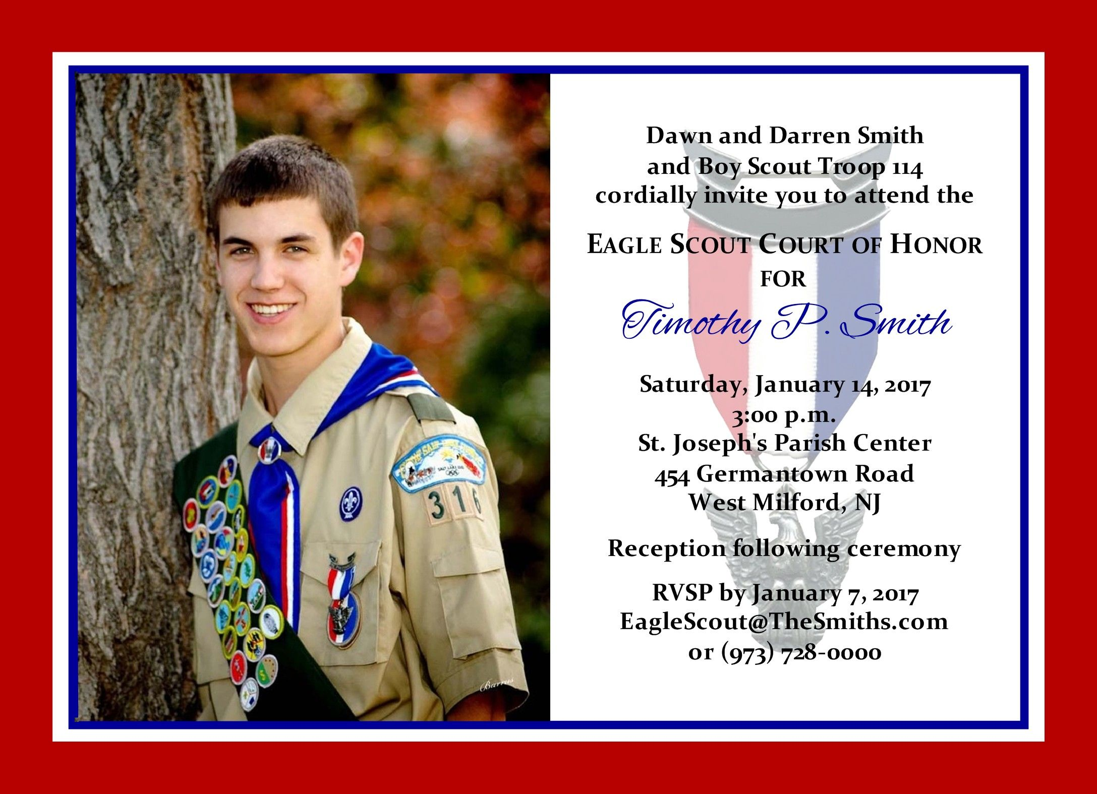 Eagle Scout Ceremony Invitation Template