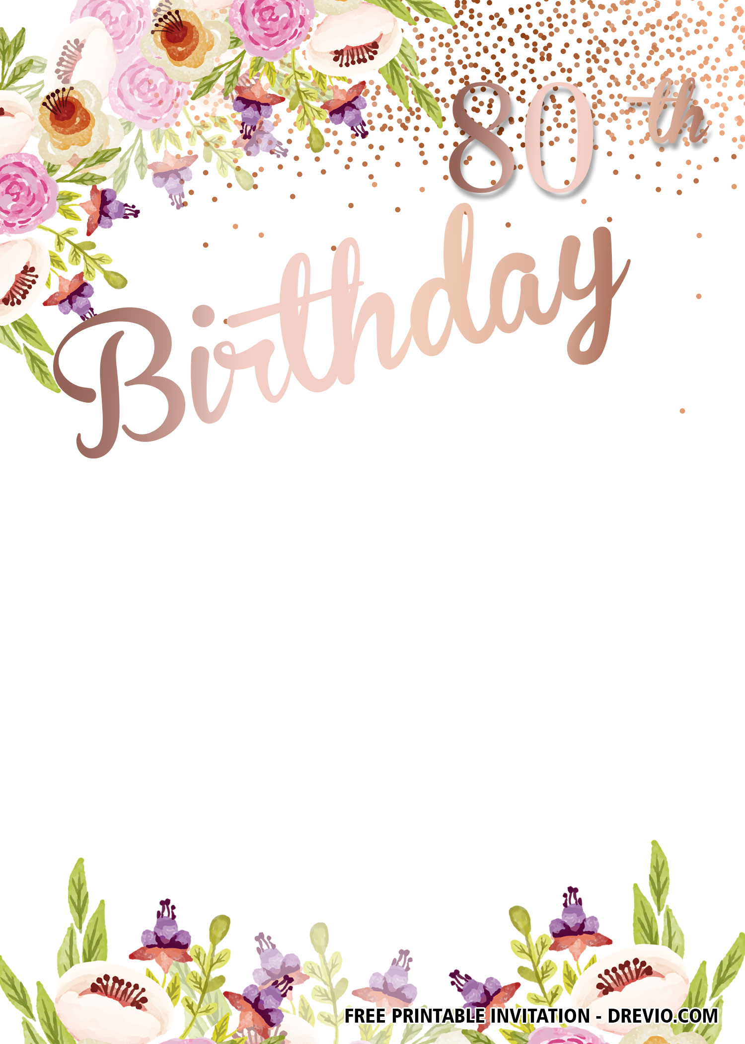 Editable 80th Birthday Invitations Templates Free