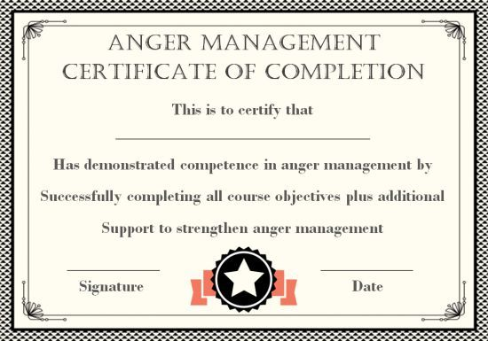 Editable Anger Management Certificate Template