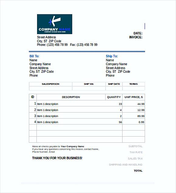Editable Blank Invoice Template Excel