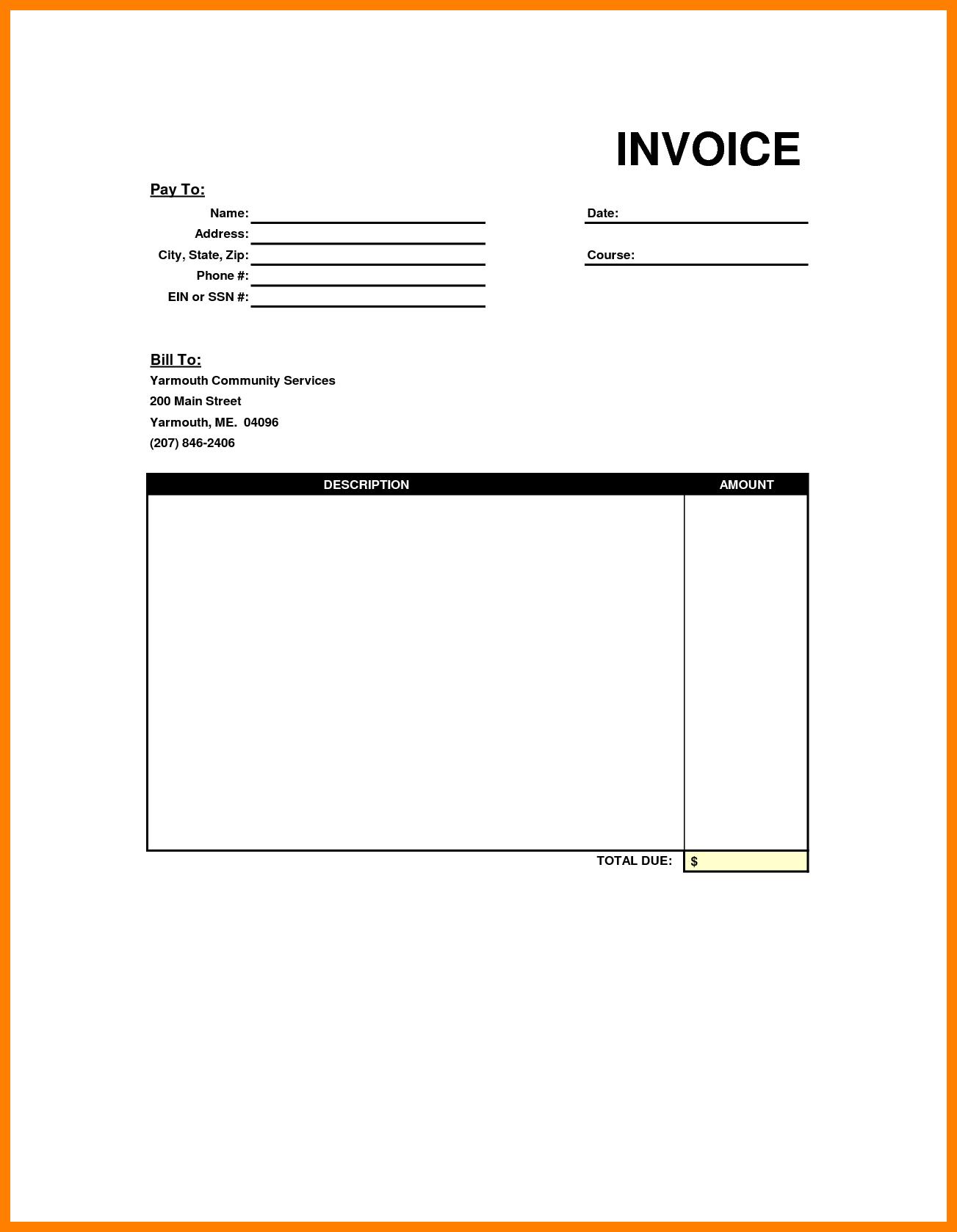 Editable Blank Invoice Template Free