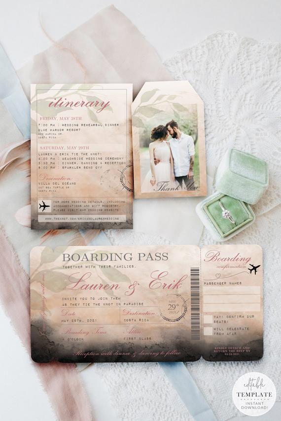 Editable Boarding Pass Wedding Invitation Template