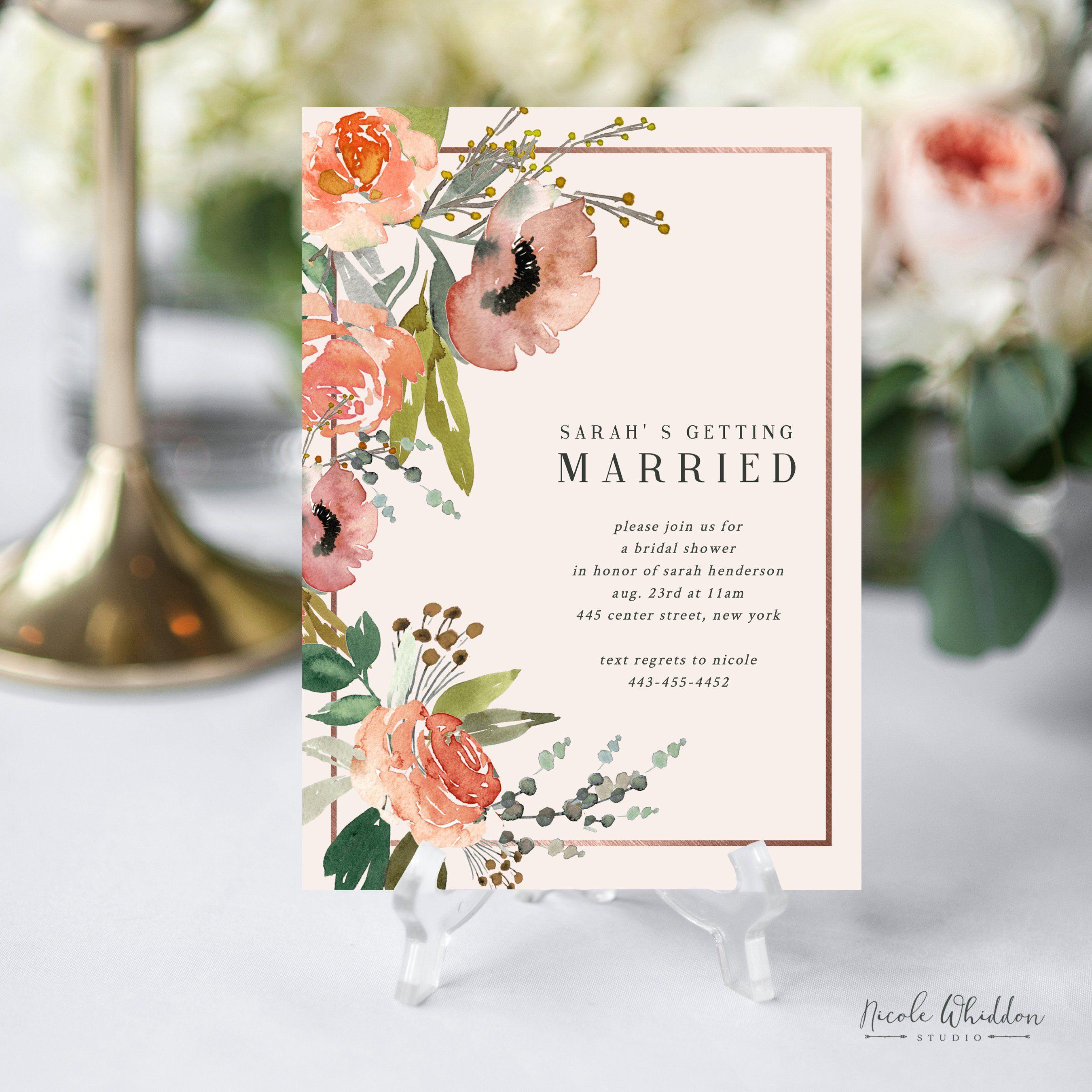 Editable Bridal Shower Invitations Template
